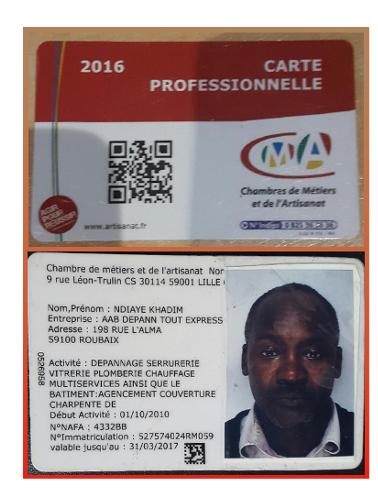 Carte Professionnelle d'artisan Ndiaye Khadim valable jusqu'au 31/03/2017